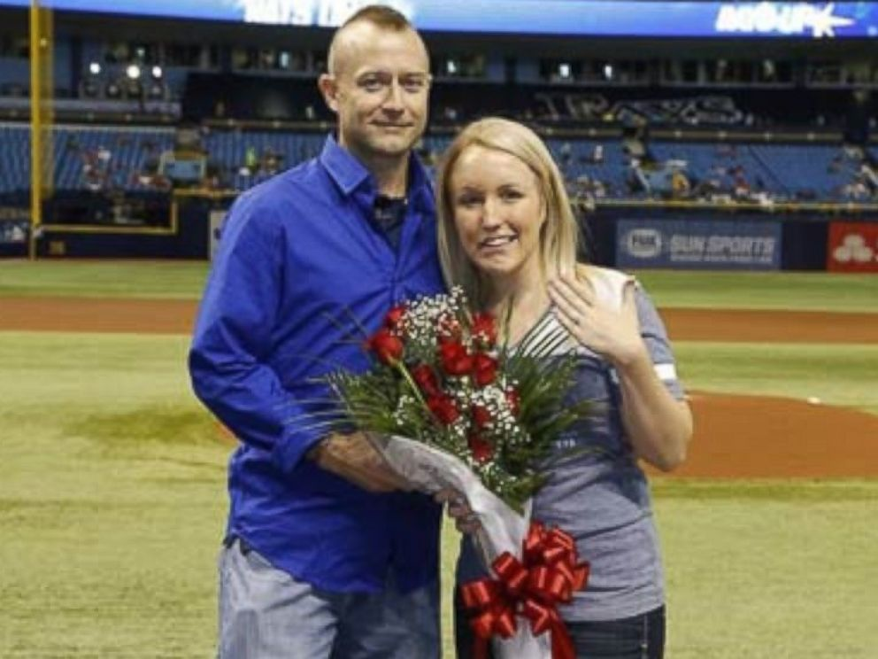 Emt Proposes At Tampa Bay Rays Baseball Game To Domestic Violence