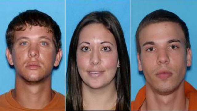 PHOTO:Ryan Edward Dougherty, 21, Lee Grace E. Dougherty, 29, and Dylan Dougherty Stanley, 26, are on the run after robbing a bank in Georgia, and shooting at a police officer in Zephyrhills, Fla.