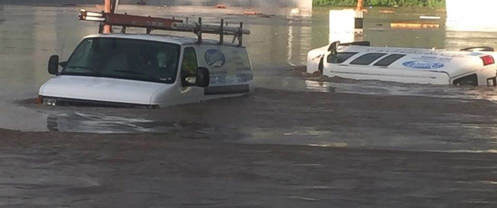 Flash flooding in Salem, Indiana, on May 19, 2017.