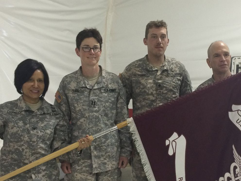 PHOTO: From left, Col. Jacqueline Chando, Capt. Sarah Cudd, Spc. Colin Fistrowicz, and Command Sergeant Major David Galati are pictured.