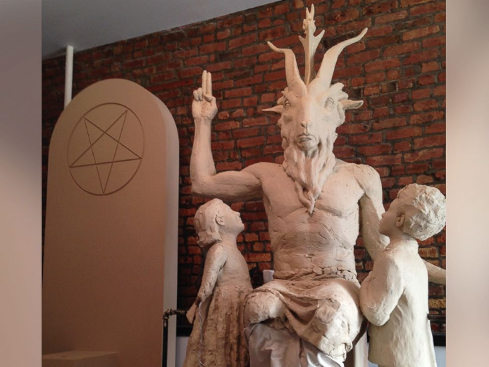 PHOTO: Unfinished statue of Satan as Baphomet, a goat-headed, angel-winged, androgynous creature.