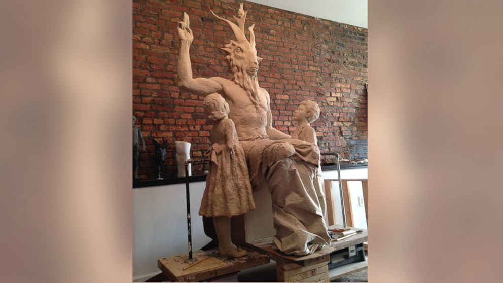 """Unfinished statue of Satan as Baphomet, a """"goat-headed, angel-winged, androgynous creature."""""""