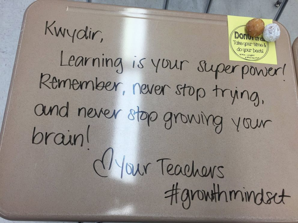 PHOTO: Mrs. Chandni Langford at Evergreen Avenue Elementary in Woodbury, New Jersey, recently wrote inspiring messages on her 5th grade students desks to help encourage them before they took their exams.