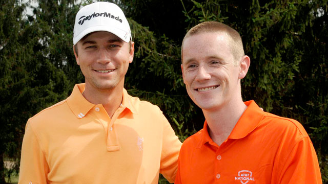 PHOTO:Chris Logan, right, poses with Sean OHair at the 18th hole of the AT&T National.