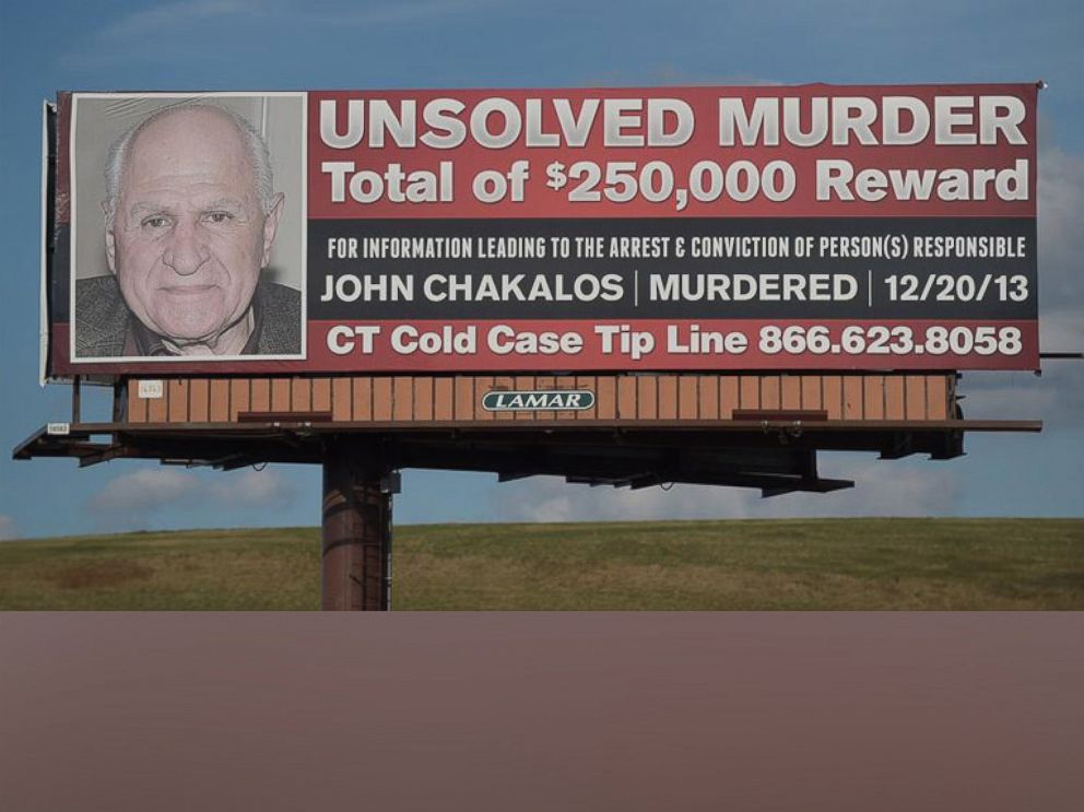 PHOTO: A billboard on Interstate 91 in Connecticut says there is a $250,000 reward for any information leading to arrest and conviction of person(s) responsible for the December 2013 murder of John Chakalos.