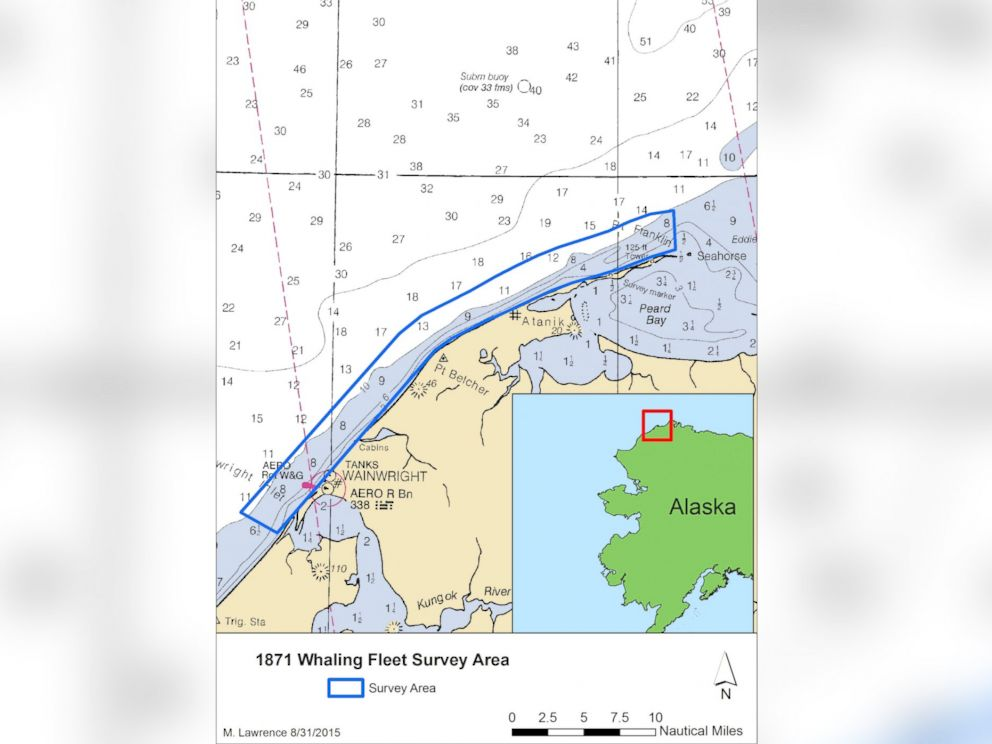 PHOTO: This map shows the area that was surveyed during the search for the Lost Whaling Fleets 2015 expedition.