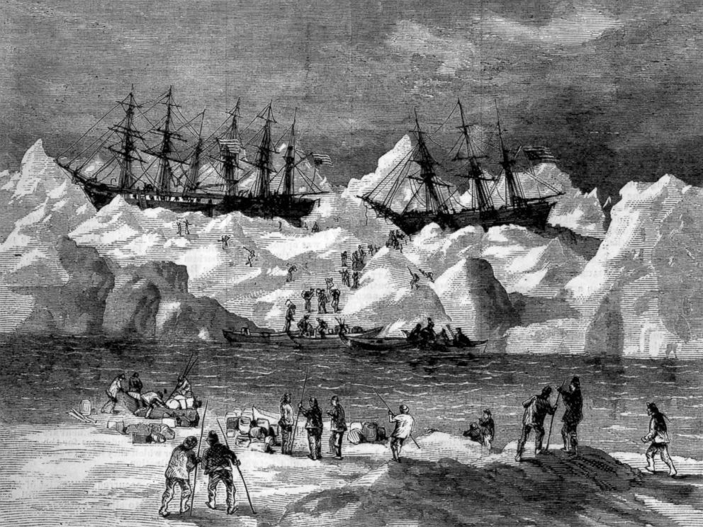 PHOTO: Abandonment of the whalers in the Arctic Ocean, September 1871, including the George, Gayhead, and Concordia. Scanned from the original Harpers Weekly 1871.
