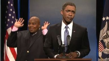 PHOTO: Saturday Night Live parodies the interpreter Thamsanqa Jantjie from Nelson Mandelas funeral, Dec. 14, 2013.