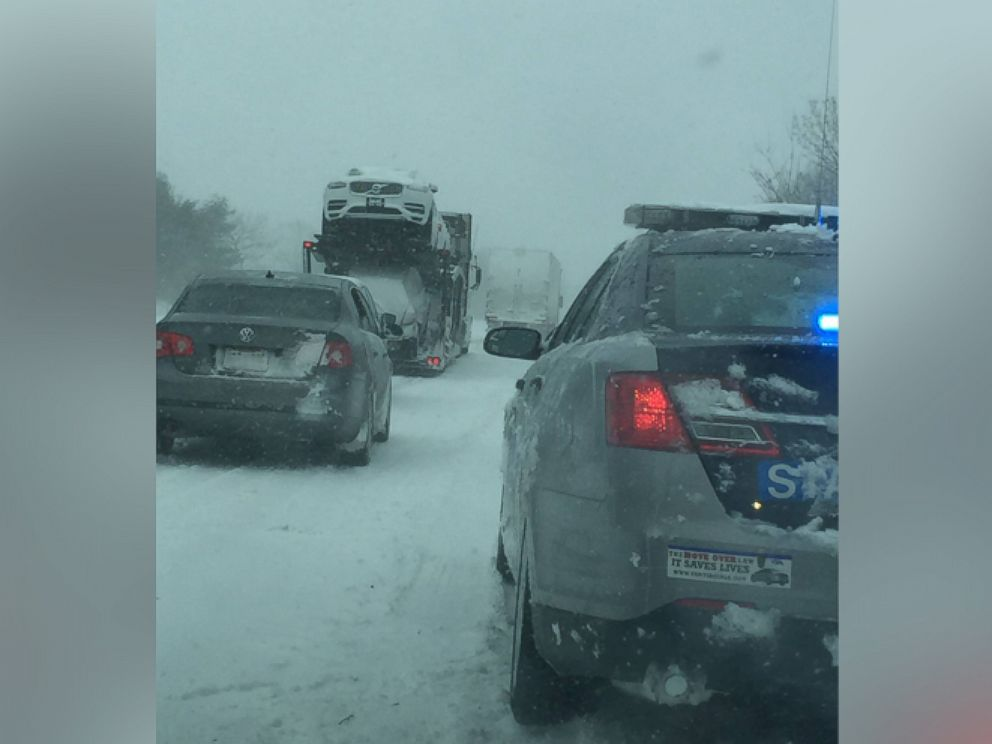 PHOTO:White out conditions stalled traffic on Virginia Interstate 64 .
