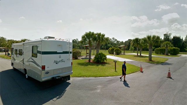 PHOTO: A motorhome is parked at St. Lucie South Campground in Stuart, Fla.