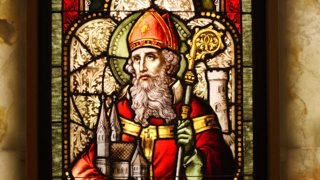 PHOTO: A stained glass window of Saint Patrick in Oakland, Calif.