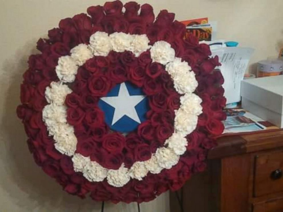 PHOTO: A memorial for Stephen Merrill was made to look like the Captain America shield.