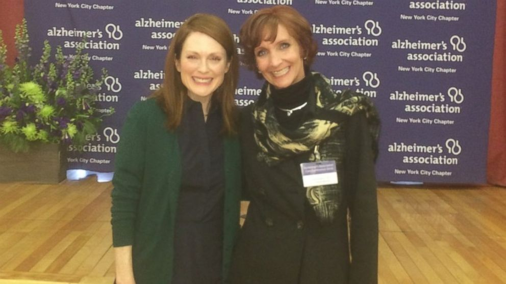 """Sandy Oltz's 50th birthday she spent the day onset of the film, """"Still Alice,"""" where she coached Julianne Moore on what it's like to live with Alzheimer's disease."""