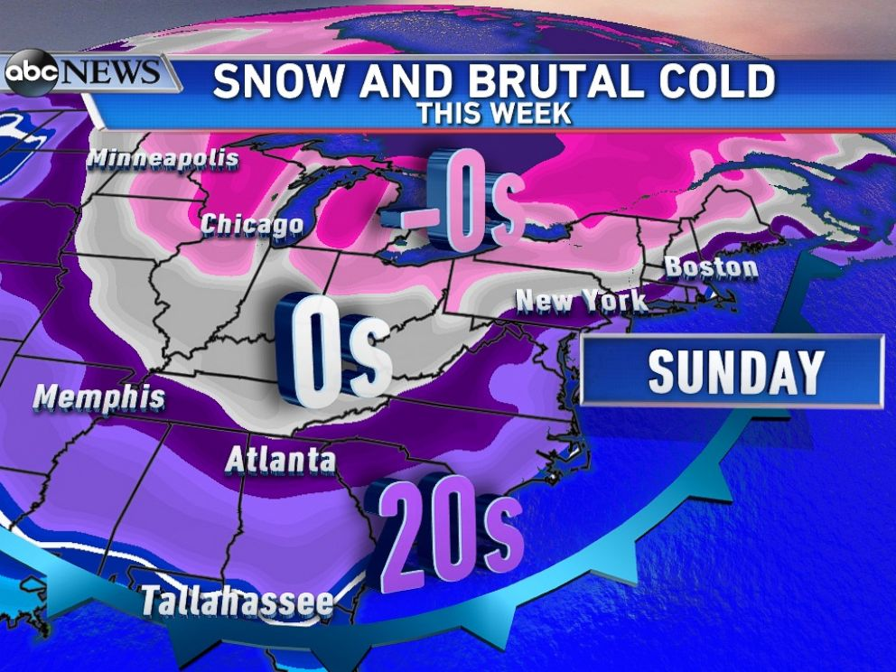 PHOTO: Another blast of snow followed by a second surge of arctic air, temperatures below zero from the Midwest to Northeast