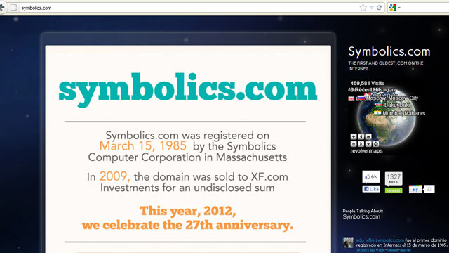 PHOTO: The website www.symbolics.com, the first domain ever registered, is shown March 13, 2012.