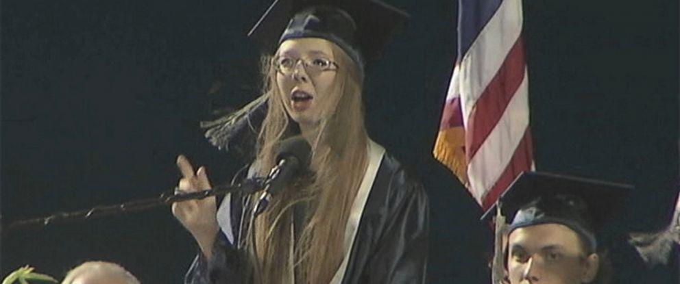 PHOTO: Skylar Mason, 18, addressed the Class of 2015 at the Ironwood Ridge High School graduation on May 20, 2015.