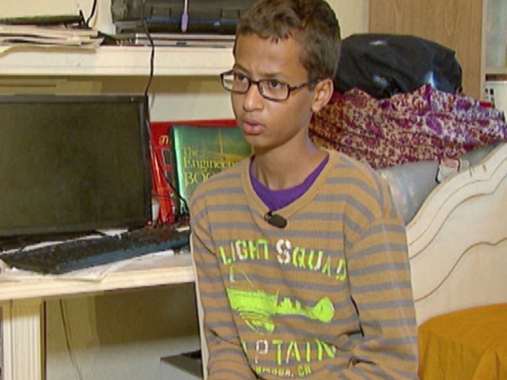 PHOTO:Ahmed Mohamed, 14, was detained by police after his school invention was mistaken for a bomb.