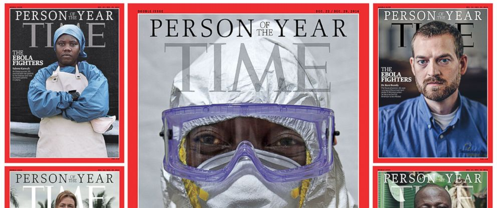 """PHOTO: Pictured are the Dec. 2014 TIME """"Person of the Year"""" covers."""