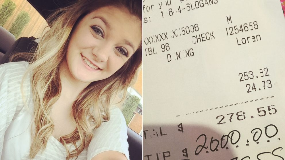 Arkansas Waitress Shocked to Get $2,000 Tip on $278 Meal
