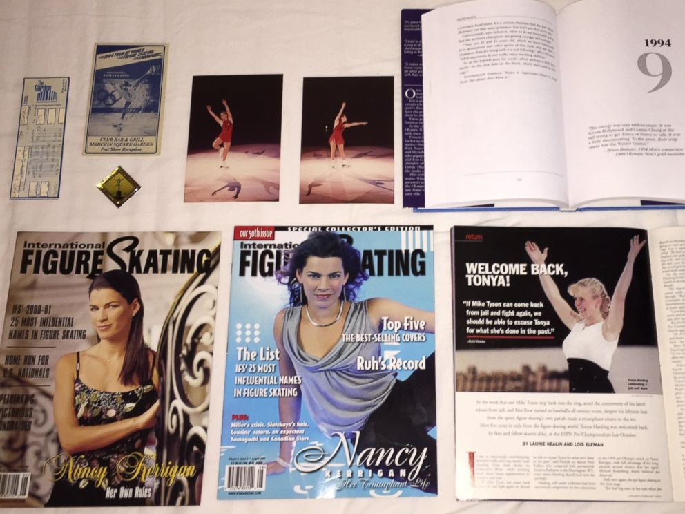 PHOTO: A selection of the memorabilia that will be available for viewing at the Tonya Harding and Nancy Kerrigan Museum 1994.
