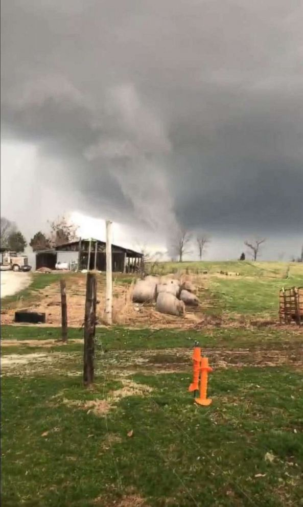 A screengrab from a video that a resident shot of a reported tornado near Alvaton, Kentucky.