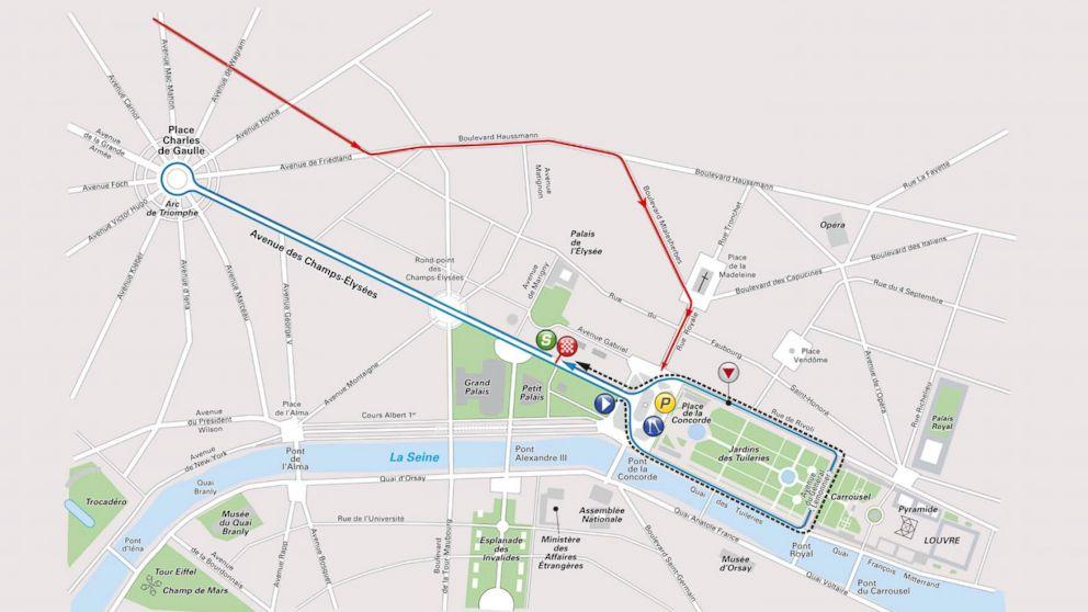 The route of La Course de France, the women's race run by Le Tour de France.