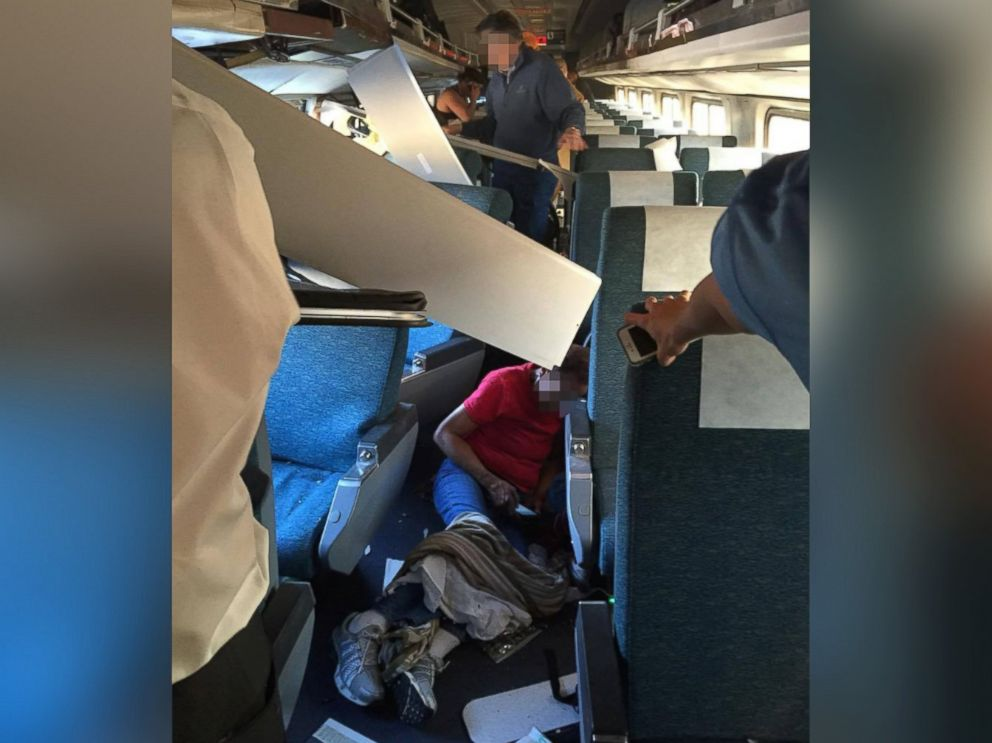 PHOTO: A photo shared by a passenger shows the situation inside the Amtrak Palmetto Train 89 after it derailed on April 3, 2016 in Chester, Pennsylvania.