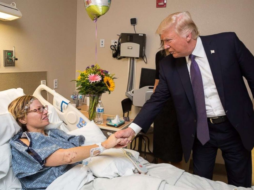PHOTO: President Donald J. Trump and First Lady Melania Trump visit with patient Natalie Vanderstay of Santa Clara, Calif., October 4, 2017, at the University Medical Center of Southern Nevada in Las Vegas.