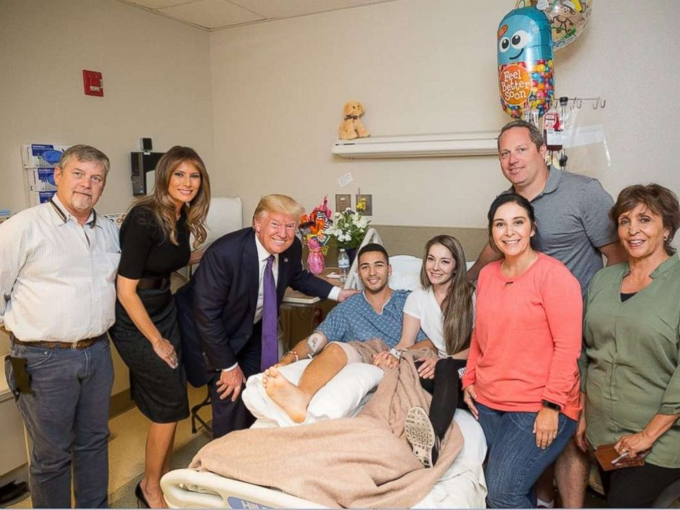 PHOTO: President Donald J. Trump and First Lady Melania Trump visit with patient Michael McDaniel of Las Vegas, October 4, 2017, at the University Medical Center of Southern Nevada in Las Vegas.