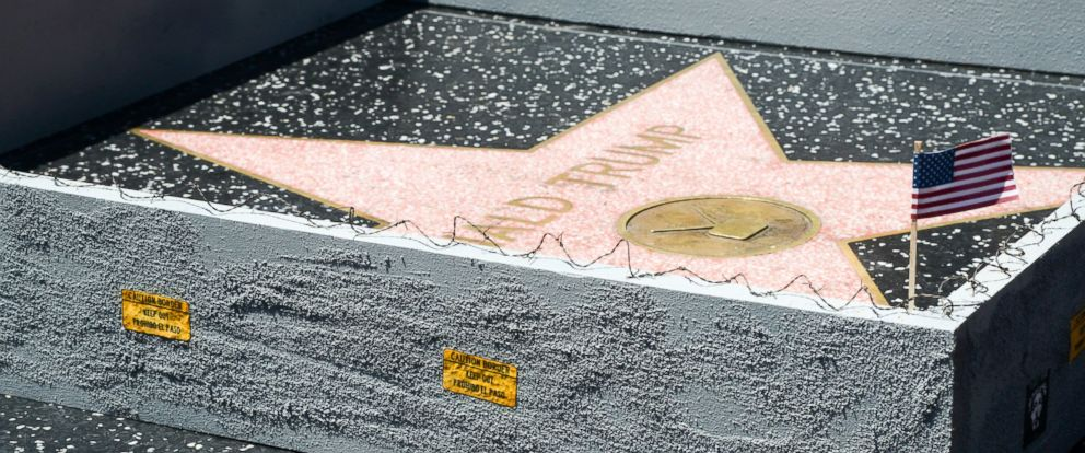 "PHOTO: An undated image shared via the website of Los Angeles artist ""Plastic Jesus"" appears to show the Donald Trump star on the Hollywood Walk of Fame surrounded by a tiny wall."