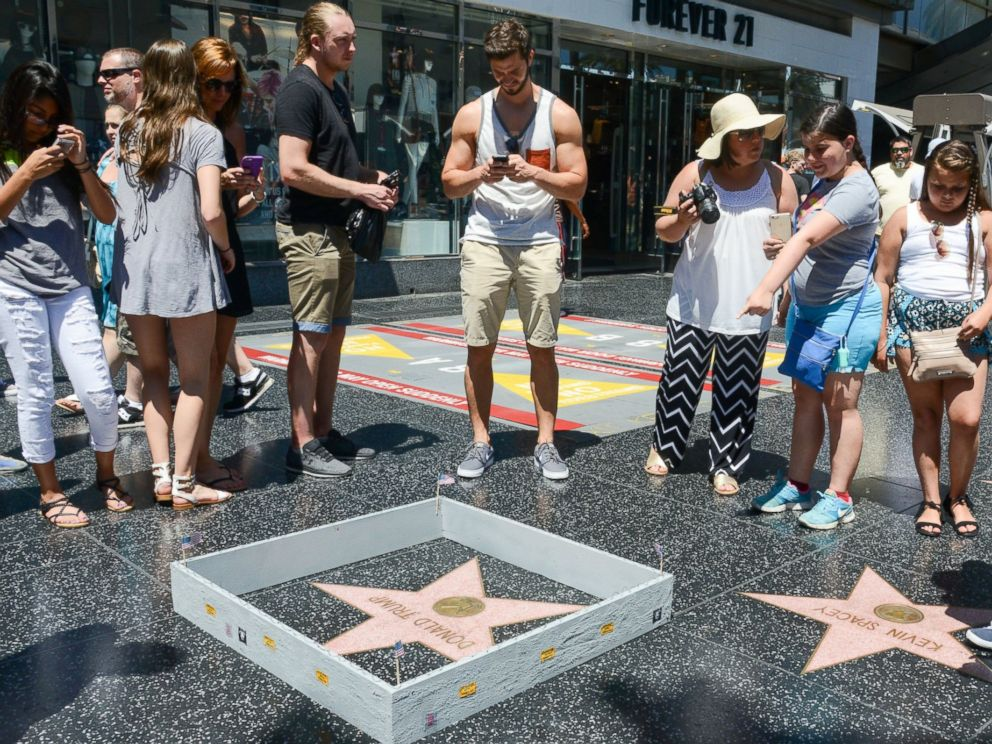 PHOTO: An undated image shared via the website of Los Angeles artist Plastic Jesus appears to show the Donald Trump star on the Hollywood Walk of Fame surrounded by a tiny wall.