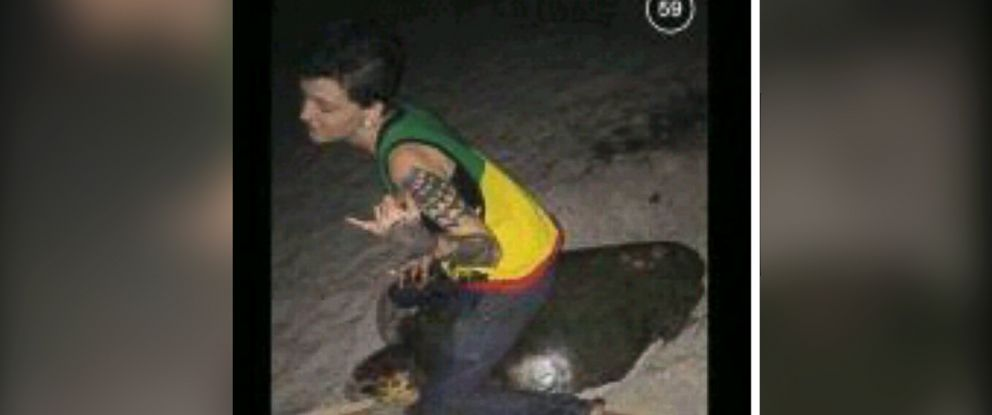 PHOTO: This photo from social media, provided by the Melbourne Police Department, shows Stephanie Marie Moore appearing to be sitting or riding on a sea turtle