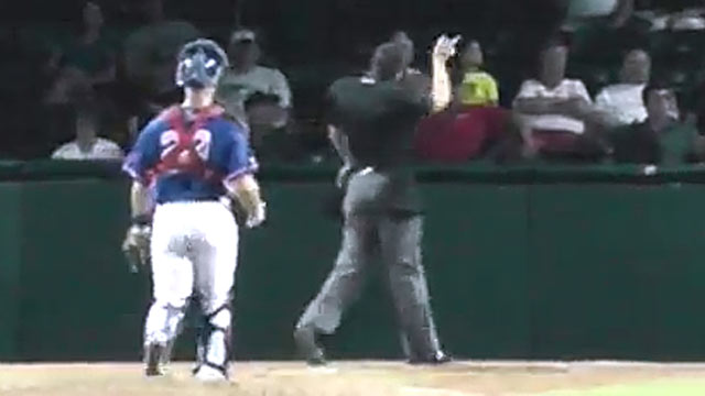 PHOTO: Minor League Baseball umpire Mario Seneca ejected Daytona Cubs intern Derek Dye for playing Three Blind Mice, Aug. 1, 2012.
