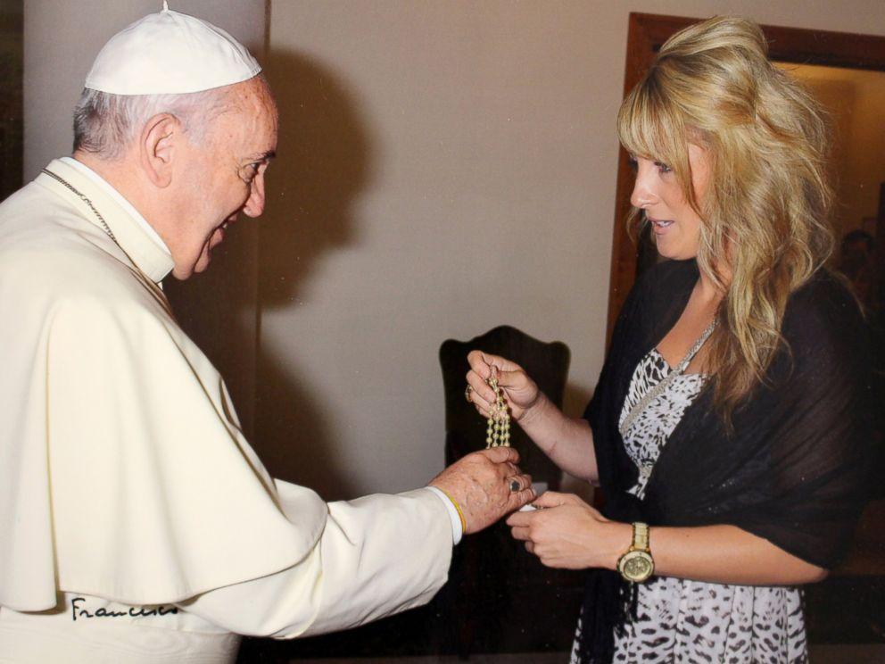 PHOTO: Miranda Emde and Pope Francis at a private mass.
