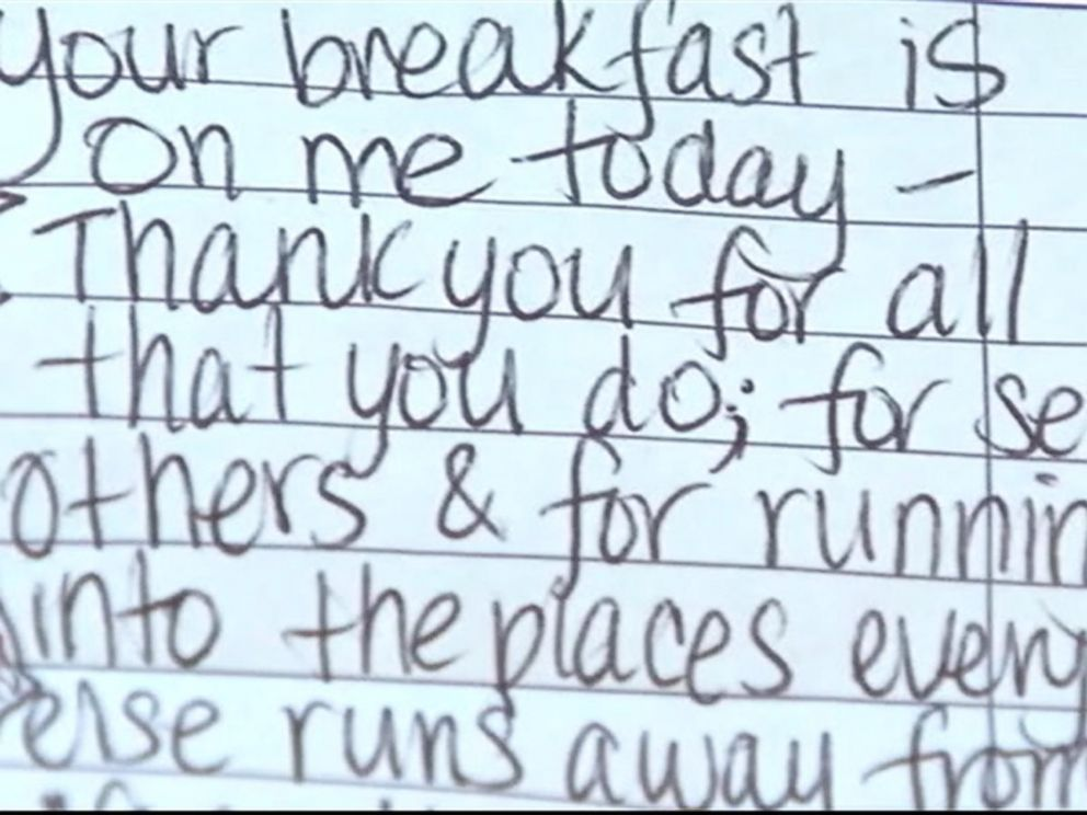 PHOTO: Liz Woodward left a note for a pair of firefighters who came to the diner after a long shift.