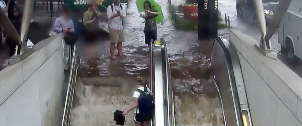 PHOTO: Water floods into the Washington Metros Cleveland Park station on June 21, 2016 in an image made from video shared by the Washington Metropolitan Area Transit Authority.