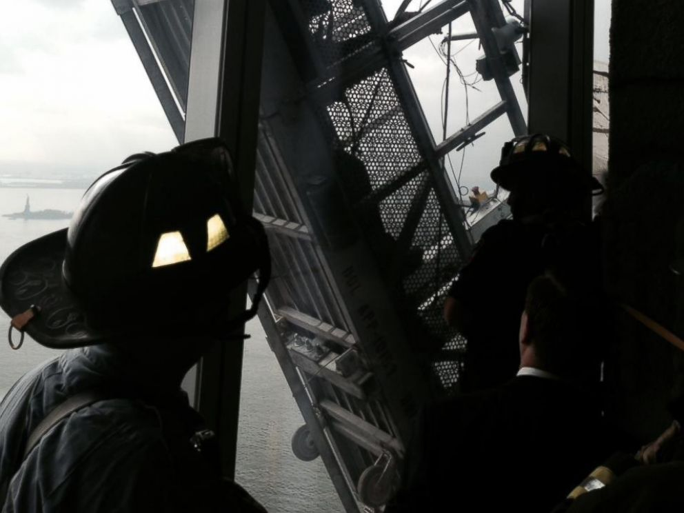 PHOTO: The FDNY posted this photo to Twitter on Nov. 12, 2014 with the caption. Now: #FDNY rescuing workers trapped on scaffolding outside 1 World Trade Center. View from the 68th floor.