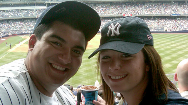 PHOTO: Christian Lopez is seen with his girlfriend, Tara Johnson, at a Yankees game in this June 2010 file photo.