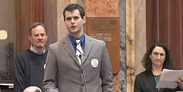 PHOTO Zach Wahls, the teenage son of two lesbians, passionately told his story before lawmakers.