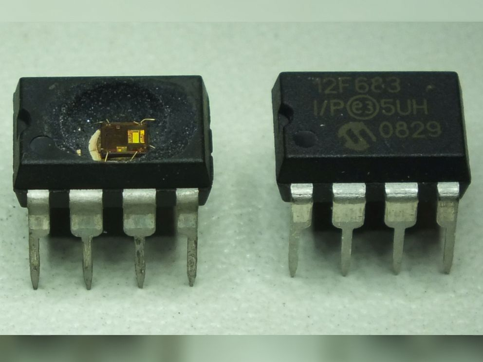 PHOTO: A normal chip (right) and a chip after being de-capped (left).