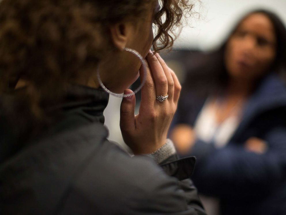 PHOTO: An unidentified victim of sex trafficking speaks with a counselor at My Life My Choice, an anti-human trafficking agency in Boston, March 24, 2016.