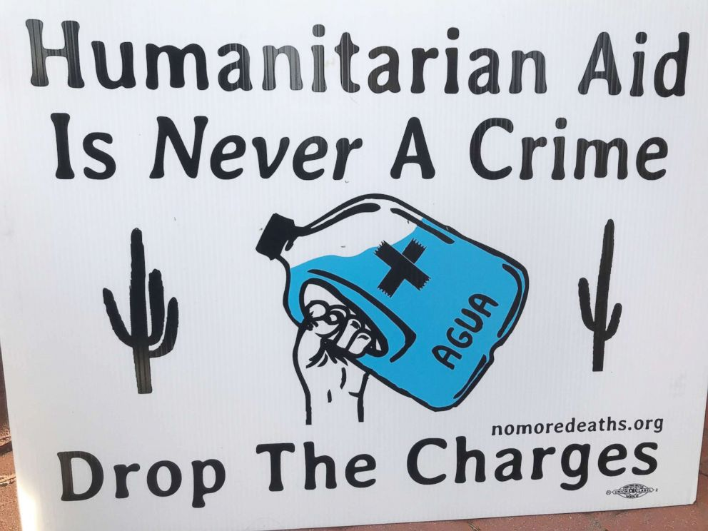 PHOTO: No More Deaths volunteers put up these signs around Tucson ahead of the trial of four volunteers charged for dropping off water for migrants at the Cabeza Prieta National Wildlife Refuge.