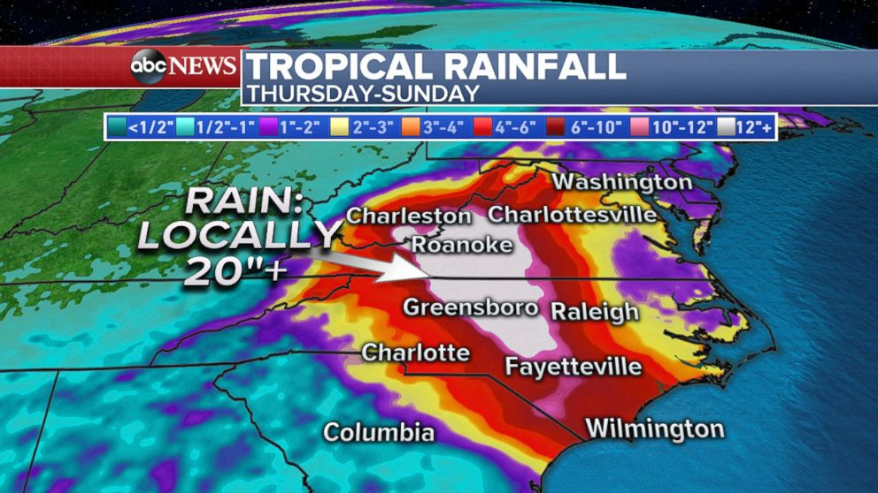 GRAPHIC: Weather graphic shows Tropical rainfall due to Hurricane Florence.