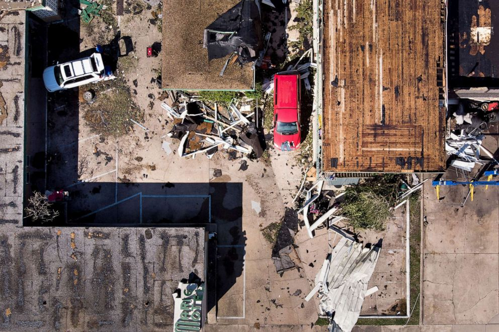 PHOTO: In this aerial view, a storm damaged motel is seen in the aftermath of Hurricane Michael on Oct. 11, 2018 in Panama City, Fla.