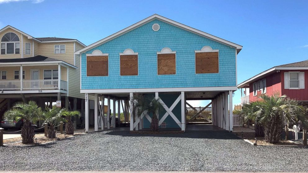 Boarded up houses are seen ahead of Hurricane FlorenceÃ?s expected landfall, at Holden Beach, N.C., Sept. 10, 2018.