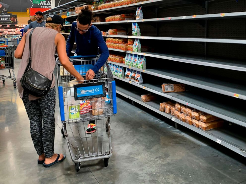 PHOTO: Residents buy supplies at a Walmart in West Miami on August 30, 2019, in preparation for Hurricane Dorian.