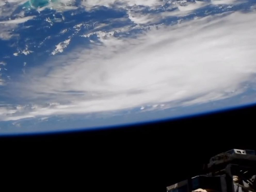 PHOTO: A camera outside of the International Space Station captured views of Hurricane Dorian at 1:05 p.m.EST, Aug. 29, 2019, as it churned over the Atlantic Ocean.