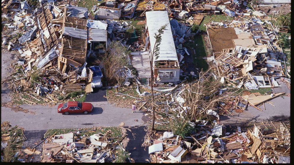 Remnants of a trailer park following Hurricane Andrew, Aug. 25, 1992.