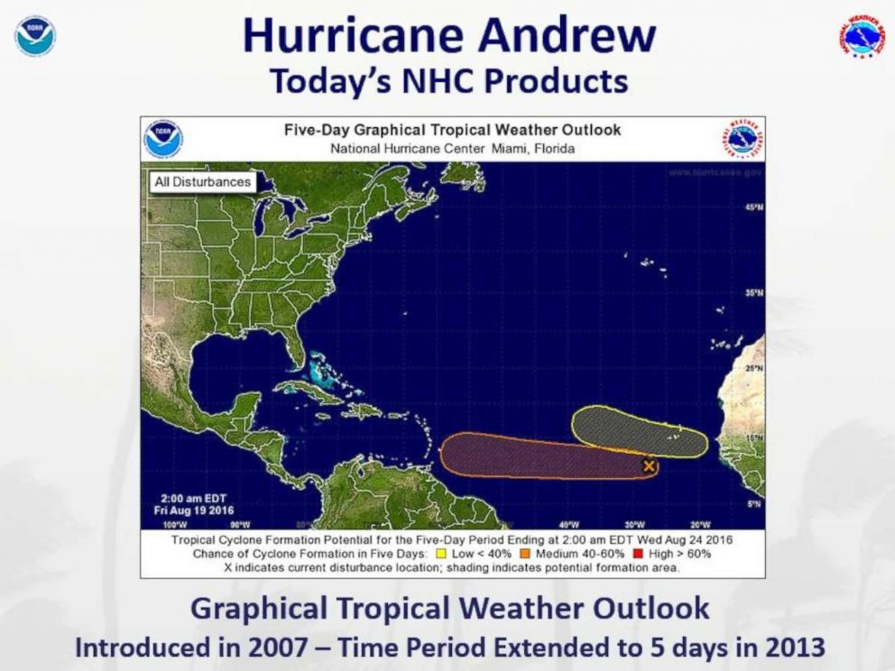 PHOTO: In 2007, the National Hurricane Center introduced the graphical tropical weather outlook, which provides a probability of a tropical cyclone formation over the coming days.