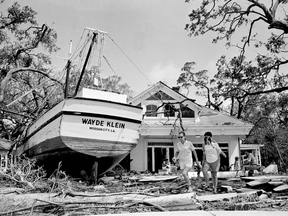 PHOTO: An 85-foot boat was deposited in the yard of a home in Biloxi, Miss., as part of the wreckage of Hurricane Camille. The boats anchorage is more than 100 yards from the home and floated in on flood tides.
